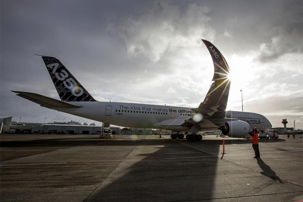 The Airbus A350 - the world's newest airliner - during its visit to Auckland.