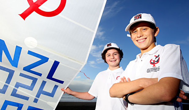 GONE LIKE THE WIND: Eli Goodkind, left and George Clarke, both 12, are off to China for a sailing regatta.