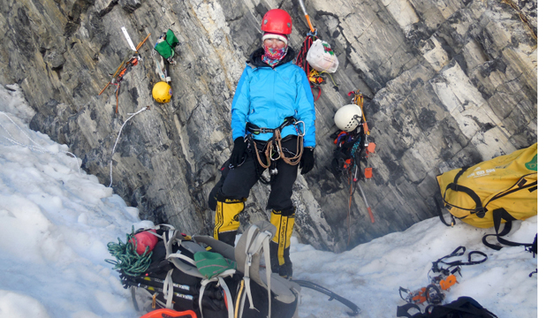 DECISIONS, DECISIONS: Christine Jensen Burke takes stock of the situation at the base of Broad Peak.