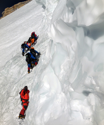 HARDER AND HARDER: Christine Jensen Burke with her fellow mountaineers on K2.