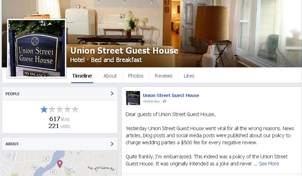 IT WAS A JOKE: Hotel owner Chris Wagoner posted the apology to the hotel's Facebook page.