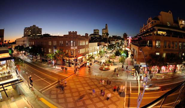 NO CARS ALLOWED: Santa Monica's pedestrian-only Third Street Promenade is ideal for people-watching.