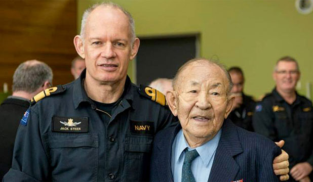LEGEND: Chief of the Navy Rear Admiral Jack Steer helps farewell Shiu Hang Che this morning.