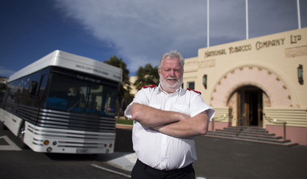 BUS BARGAIN: Mark Scofield says he has been chuckling ever since the Napier City Council accepted his offer of $50,000 for two art deco buses which cost the council $837,000 two years ago.