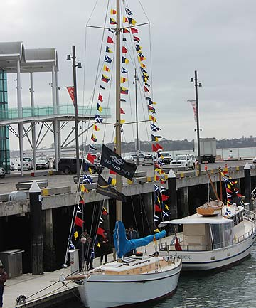 OCEAN BEAUTY: The restored Ngataki on show at Auckland's Viaduct, originally built by boating identity and Waiheke resident Johnny Wray.
