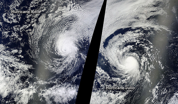 STORM FRONT: Hurricanes Iselle and Julio are set to make for a wild weekend in Hawaii.