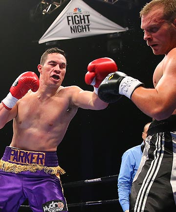 TAKE THAT: Kiwi boxer Joseph Parker lands another heavy shot during his convincing victory over American Keith Thompson.