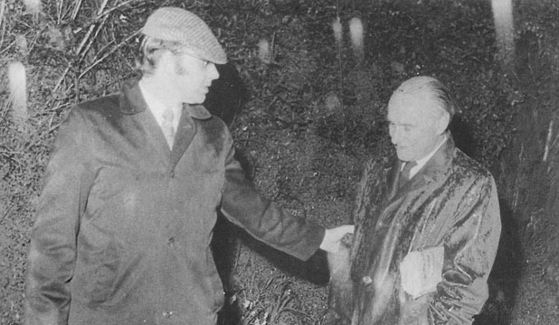 UNDER ARREST: Detective Senior Sergeant Colin Lines leads Bill Sutch to a car in the Aro Valley sting, September 1974.