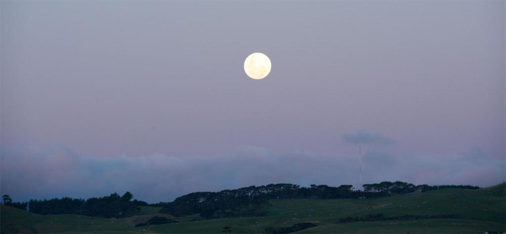 The August Supermoon rising in Wellington.