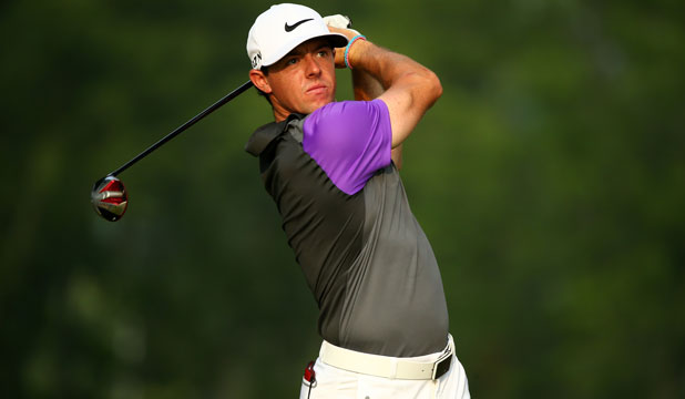 IN THE LEAD: Rory McIlroy shows some fighting character in the final round of the PGA Championship.