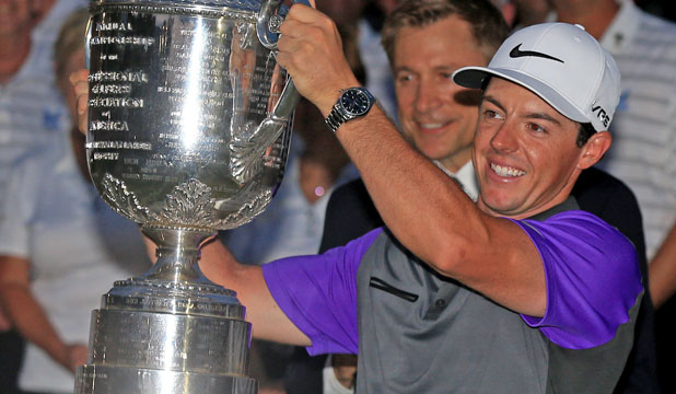TWO IN A ROW: Rory McIlroy celebrates winning the PGA Championship, his second consecutive major victory.