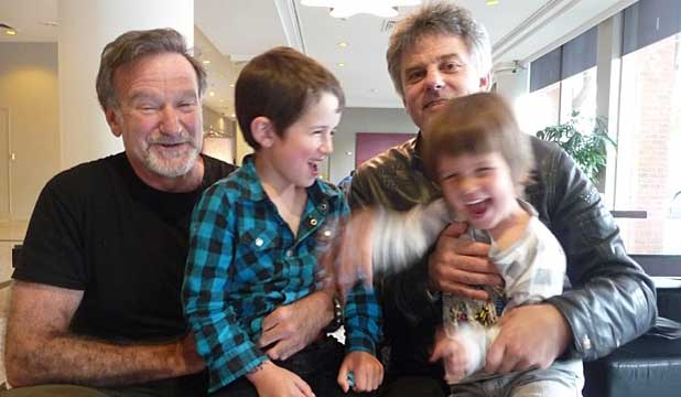 Robin Williams with Vincent Ward and his children