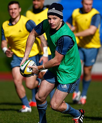SUPERSUB: Beauden Barrett goes through his paces at All Blacks training in Auckland today.