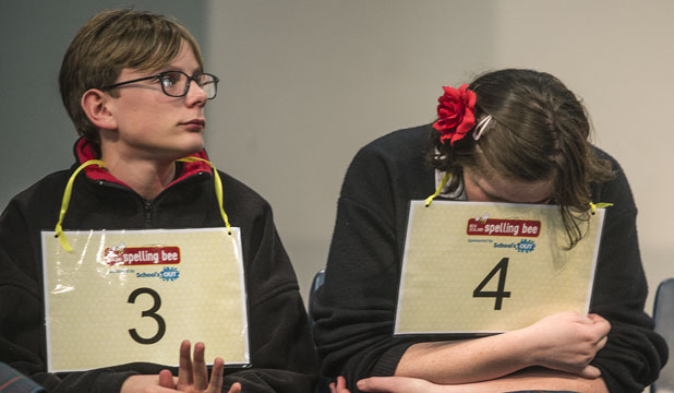 UNDER PRESSURE: Geraldine High School's Logan Keggenhoff, left, and Lily MacMillun feel the tension as they compete for a place in the national final of the New Zealand Spelling Bee.
