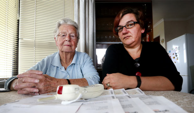 POWER CRISIS: Marjorie Harris, 84, of New Plymouth, has been taken in by power company telemarketers. Granddaughter Kelli Sutton describes their actions as elder abuse.