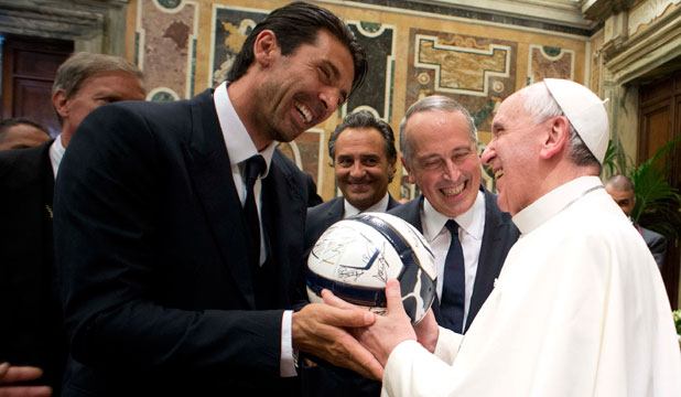 Gianluigi Buffon and Pope Francis