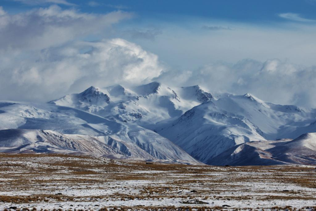 Snow grazes the foothills around mountains in the Mackenzie Basin.