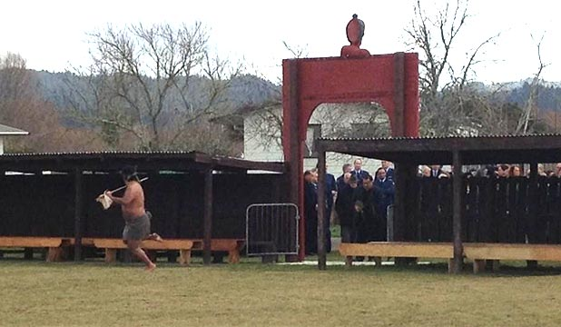 ARRIVAL: About 40 uniformed officers and a contingent of pan-tribal elders have been welcomed to Te Rewarewa Marae.