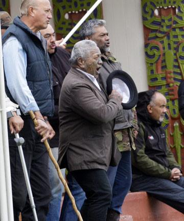 Veteran activist Tame Iti at the marae.