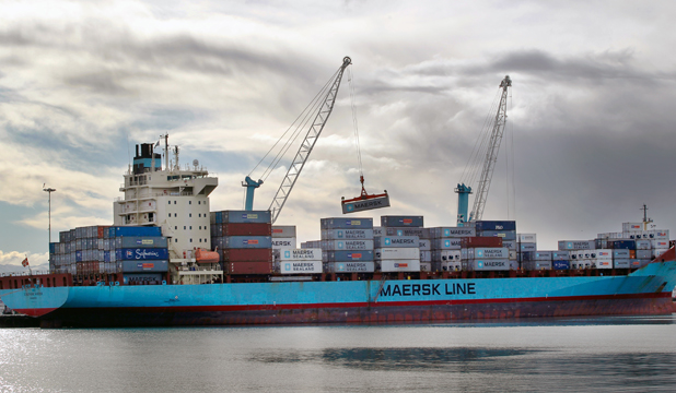 FULLY LOADED: The Josephine Maersk, the first Maersk vessel to visit Timaru's port since 2012.
