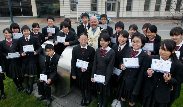 WARM WELCOME: A group of 21 students from Ikubunkan Junior High School in Tokyo was formally welcomed to the Timaru District by Mayor Damon Odey yesterday.