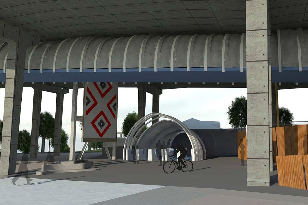 The futuristic-looking design of the SkyPath, spanning Waitemata Harbour.