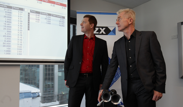 STRONG DEBUT: Eroad chief executive Steven Newman and commercial director Peter Batcheler ahead of the NZX debut.