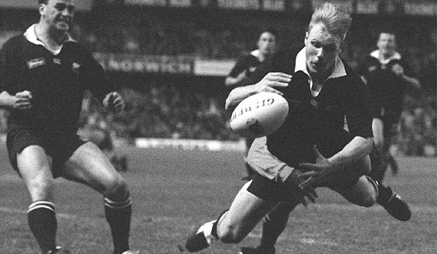 THAT TACKLE: All Blacks wing Jeff Wilson loses the ball under the impact of George Gregan's tackle as he dives for what would have have been a match-winning try in the 1994 Bledisloe Cup battle in Sydney.