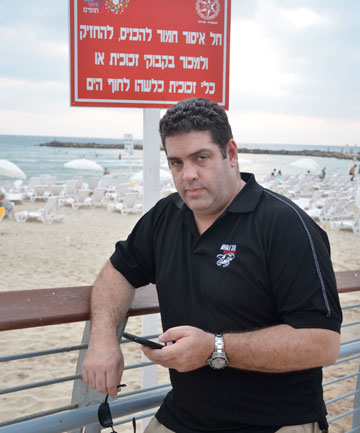 BESIDE THE SEASIDE: Cameron Slater in Tel Aviv. The Israeli government helped pay for his visit.