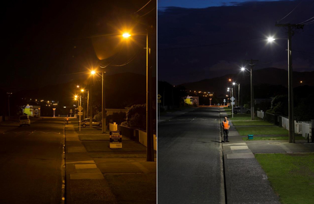 LIGHT ME UP: How Findlay Tce in Tawa looked before and after its conversion to LED light.