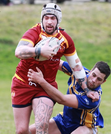 RAMPAGE: Southland Rams player Korey Pennicott on the charge in the opening round of the South Island inter-district rugby league competition.