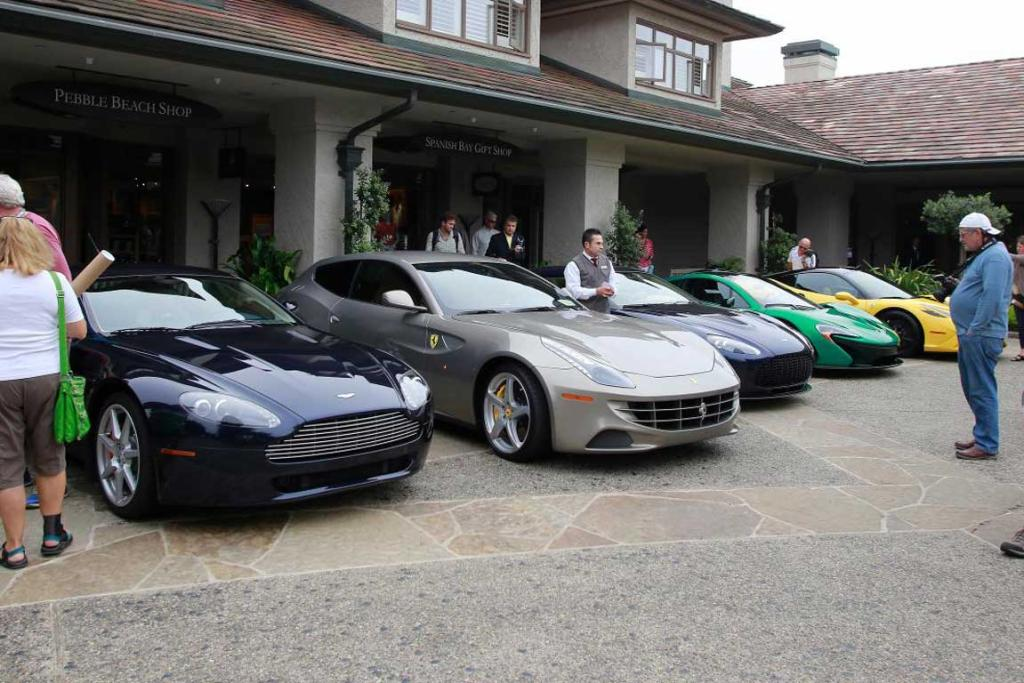 A superb lineup of luxury sports cars and supercars at a 2014 Monterey Car Week show.