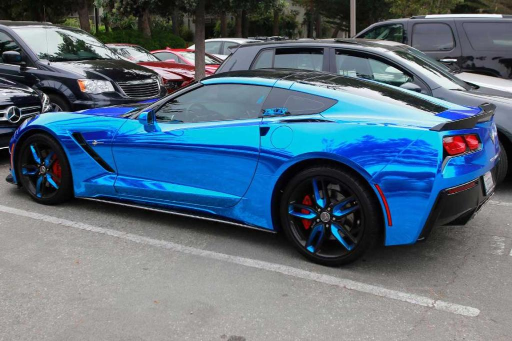 A blue chromed Chevrolet Corvette at the 2014 Monterey Car Week.