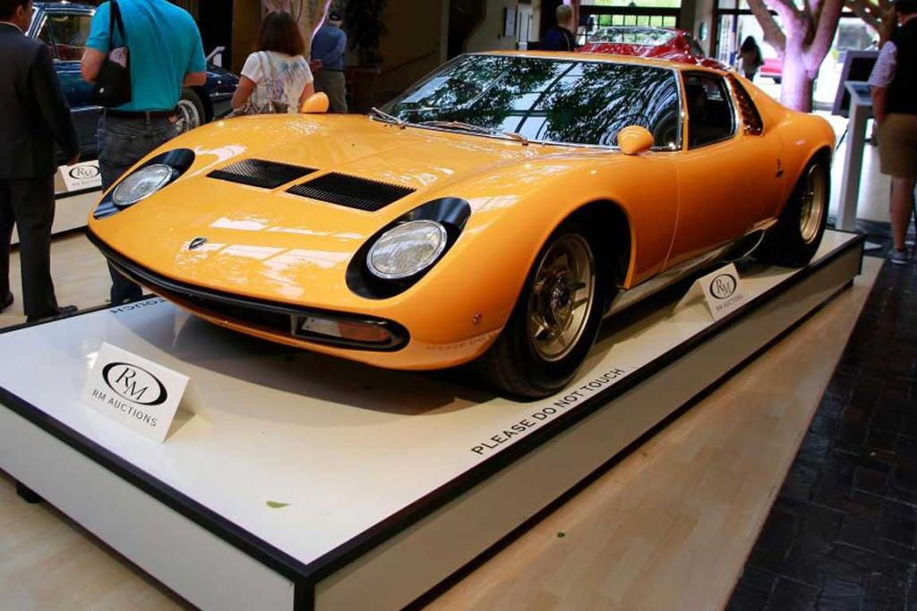 A Lamborghini Miura set for auction at the 2014 Monterey Car Week.