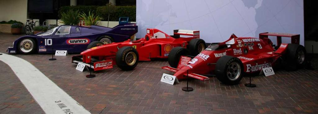 Race cars on display and ready for auction at the 2014 Monterey Car Week.