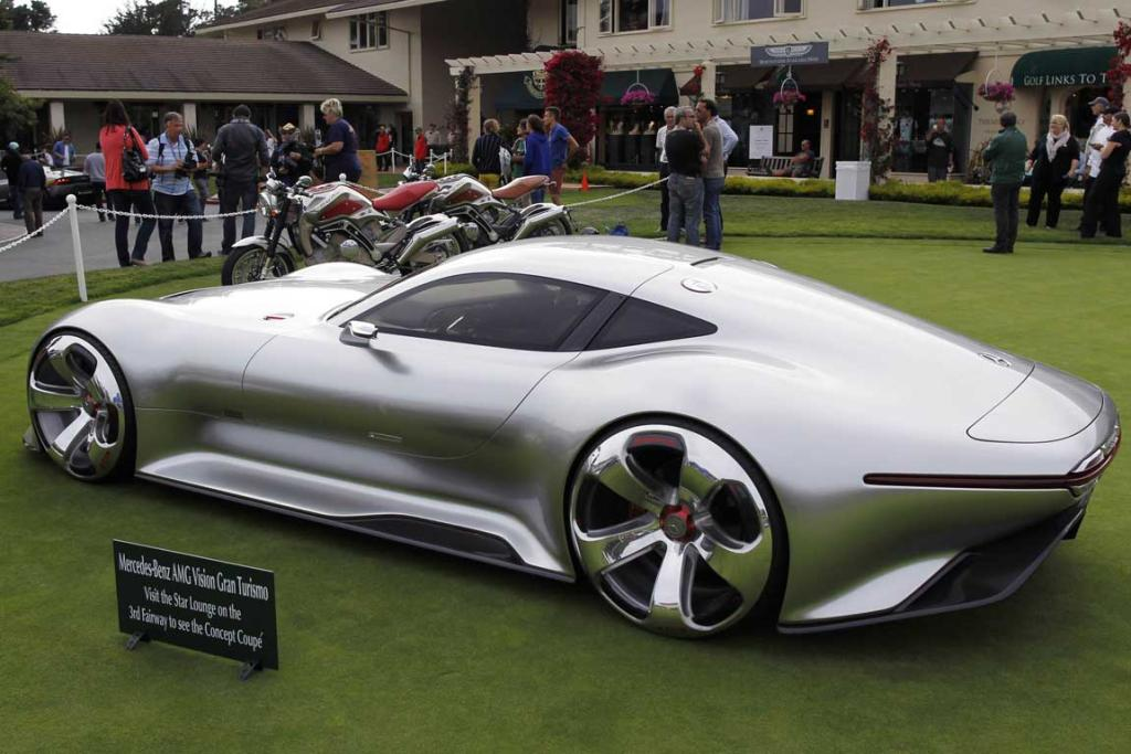 "The Mercedes-Benz AMG Vision Grand Turismo concept car is displayed on the putting green at the Pebble Beach Golf Links in Pebble Beach, California. The ""concept lawn"" is part of the Concours d'Elegance."