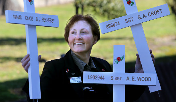 CROSS OF RESPECT: World War I Commemoration committee chairwoman Michelle Brown with examples of the crosses that will be made to commemorate South Cantabrians who died during the war.