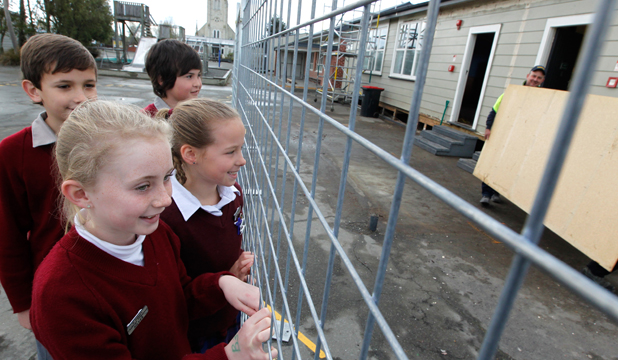 DEMO STAGE: St Joseph's Temuka pupils Reagan Jamieson, Kahu Tuite, Maya Hewson and Amber Gillies eagerly watch the builders during the demolition stage of the renovations which have started at the school.
