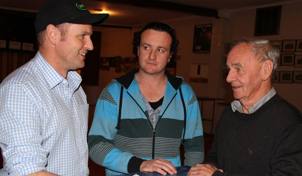 TIME TO TALK: Agribusiness farm consultant Deane Carson, left, chats to Tokanui farmer Boyd Manson and former AgResearch scientist Tom Fraser at a sheep seminar at Wyndham.