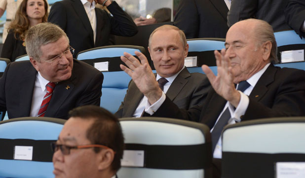 Thomas Bach, Vladimir Putin and Sepp Blatter