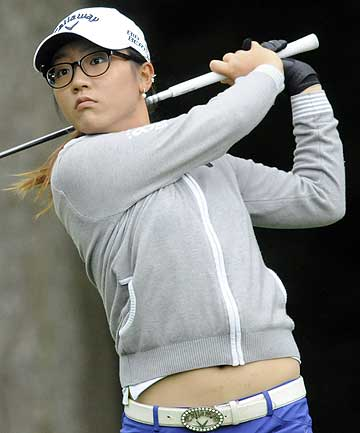 New Zealand's Lydia Ko hits her tee shot on the sixth hole during the third round of the LPGA Championship golf tournament in New York.