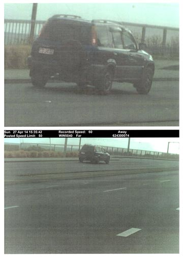 THROWN OUT: The top photo is an enlargement of the speed camera photo below. The top photo was ruled in court as inadmisable because it had been manipulated and the the number plate could not be read in the original photo.