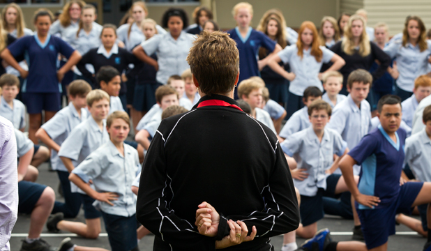 WELCOME HOME: Nelson Intermediate School students perform a haka for Commonwealth Games gold medallist Jo Edwards and her husband Dave.