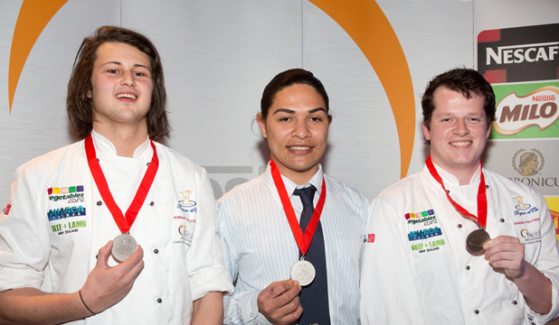 NO PRESSURE: Three Aoraki Polytechnic culinary students Benjamin Simpson, from left, Vili Jagroop and James Verey took out silver medals at the Nestle Toque d'Or competition in Auckland.