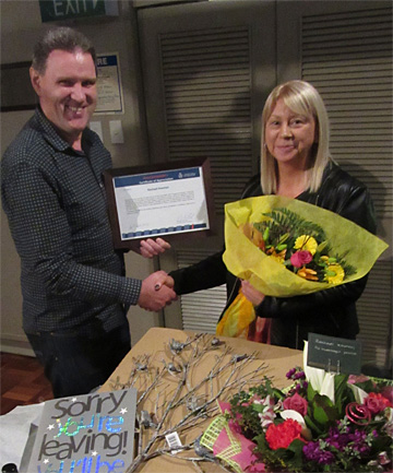 FAREWELLED: Southland Police Inspector area commander Lane Todd with Victim Support Invercargill districts' co-ordinator Rachael Kooman, as he honours her for her 18 years of service to the job.
