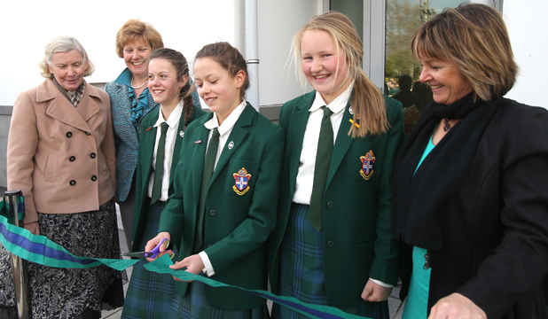 IT'S OPEN: At the official opening of the new Craighead hostel are, from left, Anglican Bishop of Christchurch Victoria Matthews, board of proprietors chairwoman Phillipa Guerin, Alex and Susie Innes, Sophie Lightbourne and principal Lindy Graham.