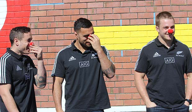 RED NOSE: All Blacks TJ Perenara, Liam Messam and  Sam Cane at Red Nose day at Glenfield Intermediate.