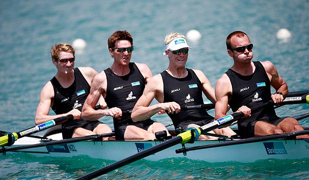 MIGHTY LIGHTIES: The NZ men's lightweight four of James Hunter, Peter Taylor, James Lassche and Curtis Rapley, from left, want to go one better than last year's world championship silver.