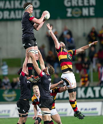 FLYING HIGH: Canterbury's Scott Barrett claims a lineout during his sides big win over Waikato in Hamilton tonight.