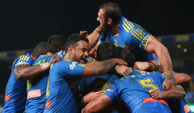STAYING ALIVE: Parramatta players celebrate Vai Toutai's try in the Eels' 22-12 come-from-behind victory over the Manly Sea Eagles.